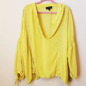 Lane Bryant chartreuse lemon sheer blouse